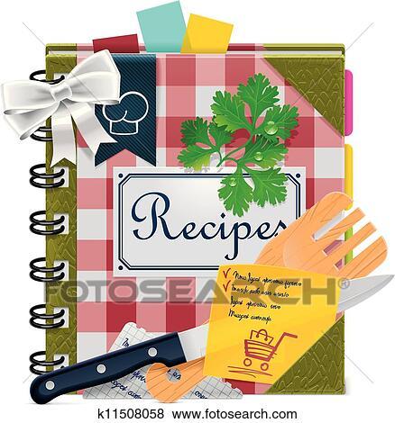 clip art of vector cooking book