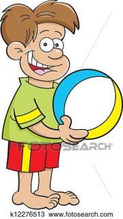 cartoon boy holding beach ball