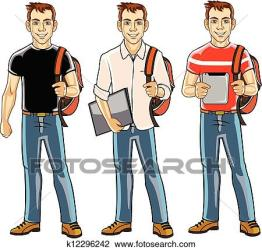 student college boy clipart clip vector illustration drawings graphics fotosearch handsome action graphic csp991