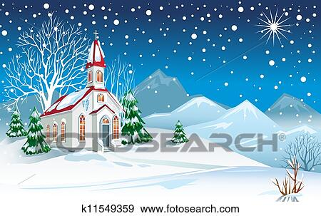 Clip Art of Winter landscape with church k11549359
