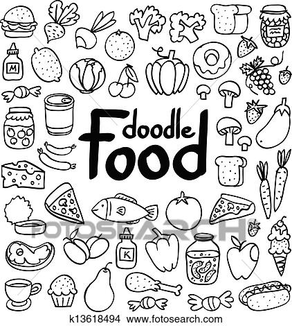 Doodle food set of 50 various products, fruits, vegetables