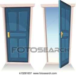 Doors Closed And Open Clip Art k13281637 Fotosearch