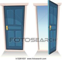 Clip Art of Doors, Closed And Open k13281637 - Search ...