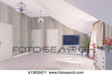 attic hall clip fotosearch rendering interior 3d