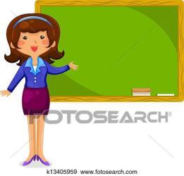 teacher happy clip fotosearch standing blackboard