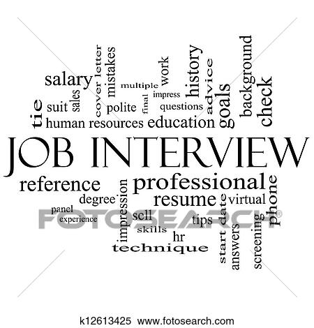 Job Interview Word Cloud Concept in Black and White Stock