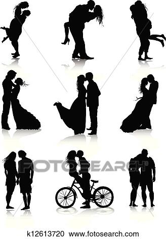clipart of romantic couples silhouettes