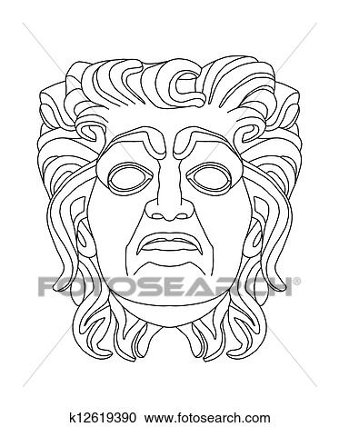Stock Illustrations of greek theatrical mask of an old man