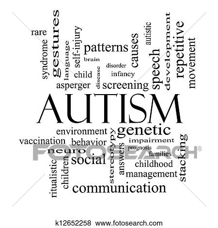 Stock Illustration of Autism Word Cloud Concept in black