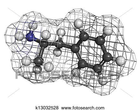 Pictures of Amphetamine stimulant molecule, chemical
