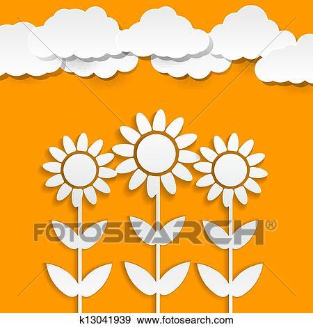 clip art of paper sunflowers