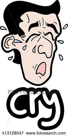 Clip Art - Cry man. Fotosearch - Search Clipart, Illustration Posters, Drawings, and EPS Vector Graphics Images