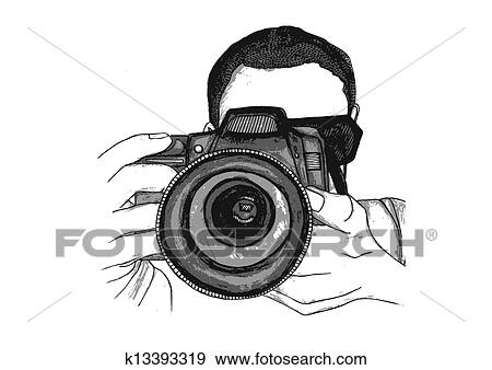 Clip Art of Photographer Taking a Picture k13393319
