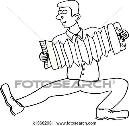 Clipart of man playing the accordion on white k13682031