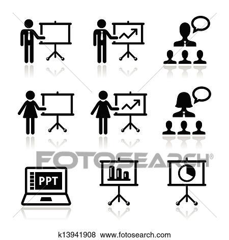 Clip Art of Business presentation, lecture icon k13941908