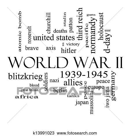 Stock Photo of World War II Word Cloud Concept in Black