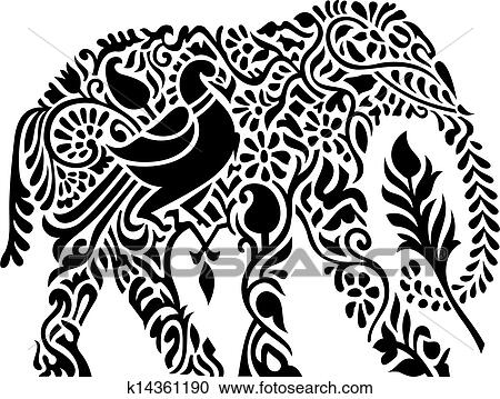 Clipart of Decorative indian elephant k14361190 Search
