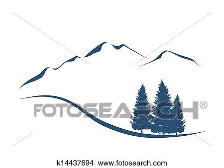 Clipart  stilizzato illustrazione esposizione un alpino paesaggio con montagne e abeti