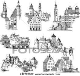 medieval urban fotosearch scenics clip engraving landscapes buildings drawing collection