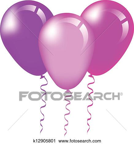 clipart of pink and purple balloons