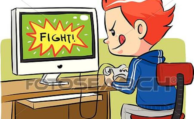 Clipart Of Playing Computer Games K13853872 Search Clip
