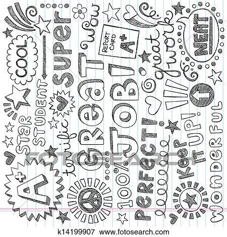 Clip Art of Priase Encouragement Words Doodles k14199907