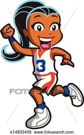 女孩, 籃球選手 剪圖Clipart   k14833435   Fotosearch