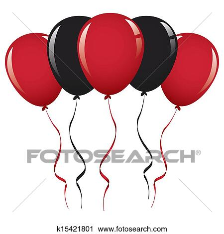 clipart of black and red balloon