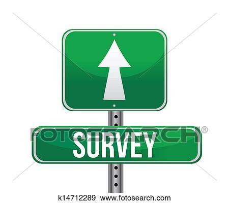 Depicting a sign with a survey concept. Clip Art   k14712289   Fotosearch