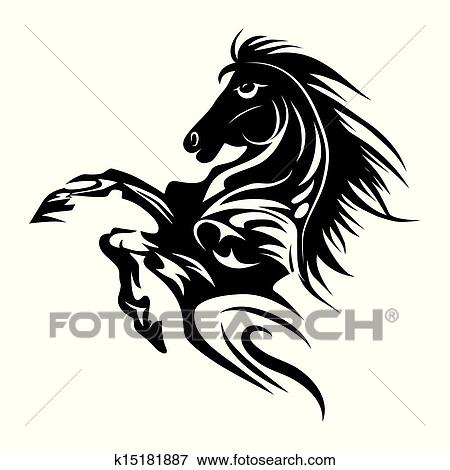 Horse tattoo symbol for design isolated on white emblem or