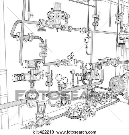 Industrial equipment. Wire-frame vector Clip Art