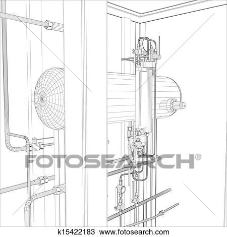 Industrial equipment. Wire-frame vector Clipart