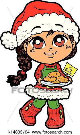 clipart of girl with cookies