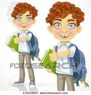 clip art of curly-haired boy