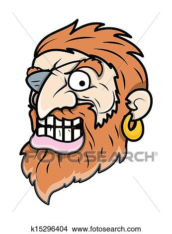 Clipart of Evil Eye Patched Beard Pirate Man k15296404
