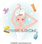 clipart of young woman soaping