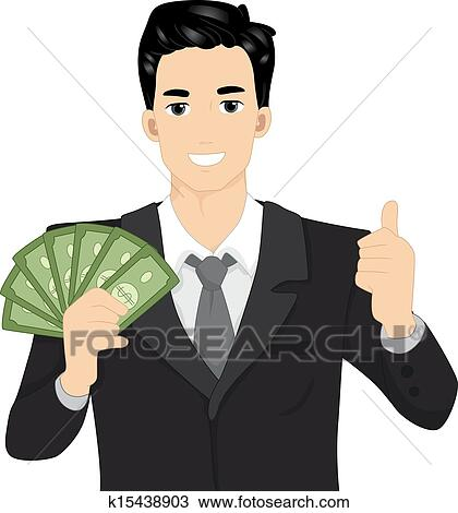 clipart of man holding money k15438903