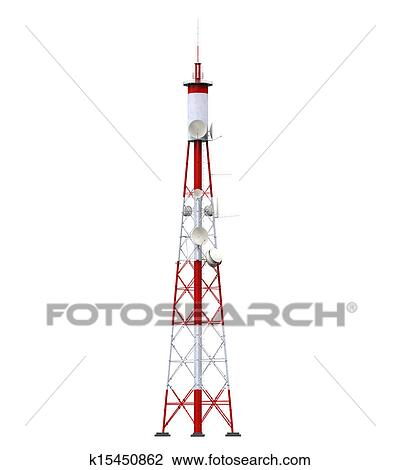 Clip Art of Communication Tower with Antennas k15450862