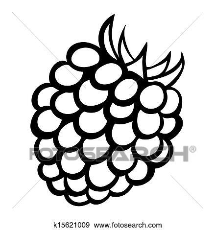 Clip Art of Vector monochrome illustration of raspberry