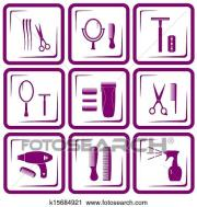 clipart of set hair care icons