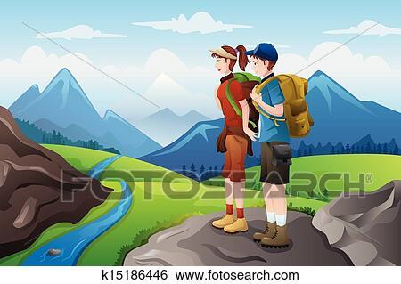 Randonneurs dessus montagnes Clipart k15186446