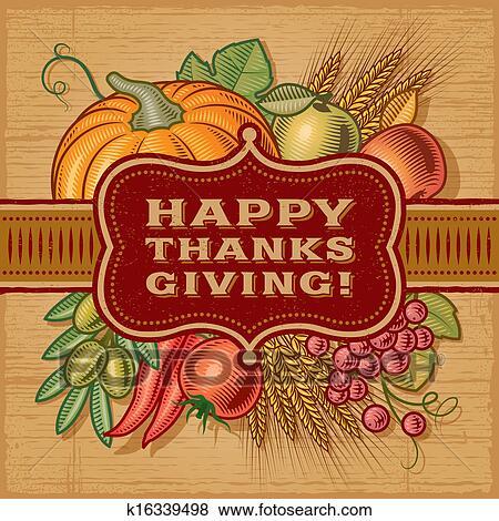 幸せ, 感謝祭, レトロ, カード クリップアート | k16339498 | Fotosearch