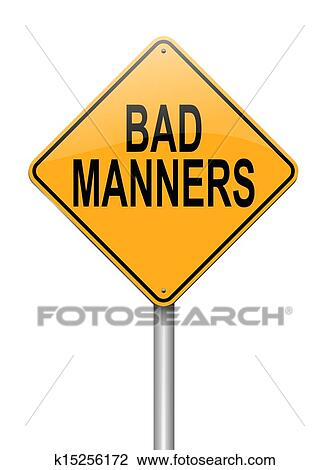 Bad manners concept. Drawing | k15256172 | Fotosearch