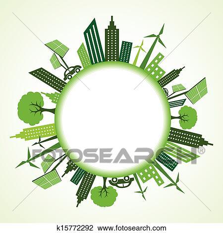 clipart of eco cityscape