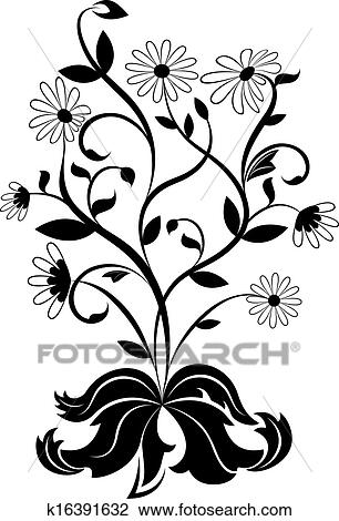 Clipart of Black and white daisy wheel design element