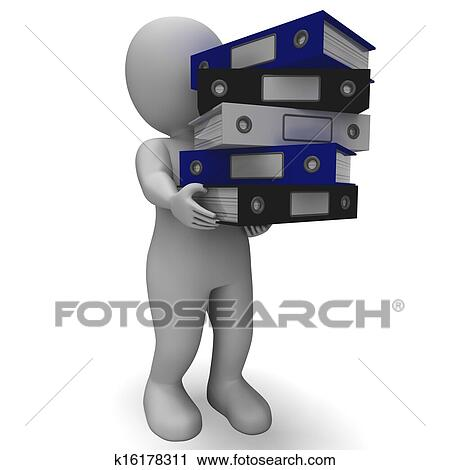 Organizing Clerk Carrying Organized Records Clip Art | k16178311 | Fotosearch