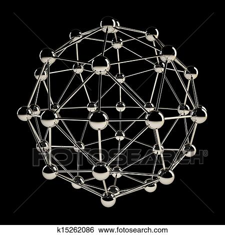sphere wireframe chrome structure