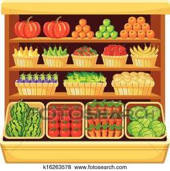 supermarket fruits vegetables clip fotosearch shelves