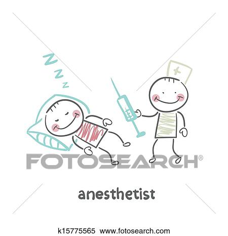 Clipart of anesthesiologist with syringe next to a