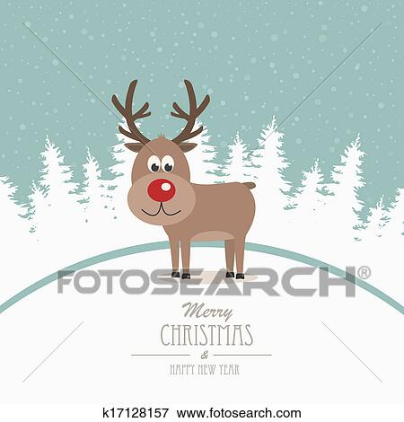 clip art of reindeer merry christmas